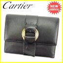 カルティエ 三つ折り財布 Cartier ブラック×ゴールド×シルバー系 【中古】 Q283s .