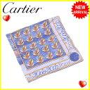 カルティエ Cartier スカーフ 大判サイズ レディース ジュエリー ブルー×イエローゴールド系 SILK/100% 【中古】 L977