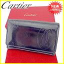 【お買い物マラソン】 【中古】 カルティエ Cartier L字ファスナー財布 二つ折り財布 メンズ可 ハッピーバースデー ダークネイビー×シルバー エナメルレザー A1390 .