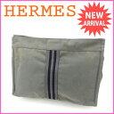 エルメス HERMES クラッチバッグ セカンドバッグ メンズ可 フールトゥ グレー×ブラック 綿100% 【中古】 J6445 .