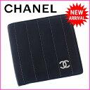 シャネルCHANEL二つ折り財布コンパクトサイズレディースココマーク付きマドモアゼルラインブラック×シルバーラムスキン(あす楽対応)レア良品【中古】J6750