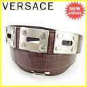 ジャンニ ヴェルサーチ GIANNI VERSACE ベルト ♯80 32サイズ レディース メンズ 可 メドゥーサボタン クロコダイル調 ...