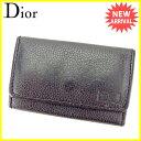 ディオール Dior キーケース 6連キーケース メンズ ロゴ ブラック×ゴールド レザー 訳あり 良品 【中古】 S597