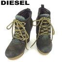 【中古】 ディーゼル DIESEL ブーツ シューズ 靴 レディース #36 編み上げ ブラウン グレー 灰色 スエード 人気 セール S886 .