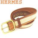 【中古】 エルメス HERMES ベルト ♯85サイズ レディース メンズ ピン式バックル ベージュ ブラウン ゴールド キャンバス×レザー×ゴールド金具 T7996