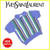 イヴサンローラン YVES SAINT LAURENT ポロシャツ ニット ボーイズ ♯キッズ100サイズ ストライプ ブルー×グリーン系 綿/50%アクリル/50% (あす楽対応)良品 セール【中古】 G945