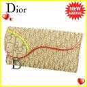 【中古】 ディオール Dior 長財布 財布 Wホック レディース サドル型 ラスタ トロッター ベージュ ブラウン レッド系 キャンバス×レザー 人気 T6131