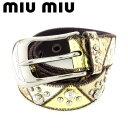 ショッピングmiumiu 【中古】 ミュウミュウ miumiu ベルト レディース メンズ 可 ゴールド ブラウン ベージュ シルバー レザー T7188 .