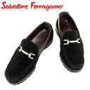 【スーパーSALE】 【20%オフ】 【中古】 サルヴァトーレ フェラガモ Salvatore Ferragamo ローファー シューズ 靴 メンズ ブラック シルバー スエード 【フェラガモ】 T7412
