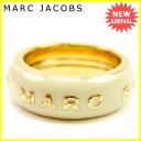 【お買い物マラソン】 【中古】 マークバイ マークジェイコブス MARC BY MARC JACOBS 指輪 リング アクセサリー メンズ可 ♯12〜14号 ロゴ ゴールド×ベージュ ゴールドメッキ 良品 Y7335 .