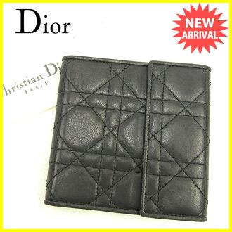 Dior Dior三個機會錢包拉鏈女士女士Dior黑色×黄金皮革品質優良的貨物促銷J16267 ★