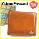 ヴィヴィアン ウエストウッド Vivienne Westwood 二つ折り財布 メンズ オーブ キャメル×シルバー レザー 人気 セール 【中古】 J17768