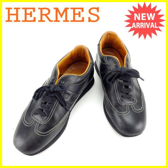 エルメス HERMES スニーカー シューズ 靴 レディース ♯38ハーフ Hマーク入り クイック ブラック レザー  【】 G1004 安い セール
