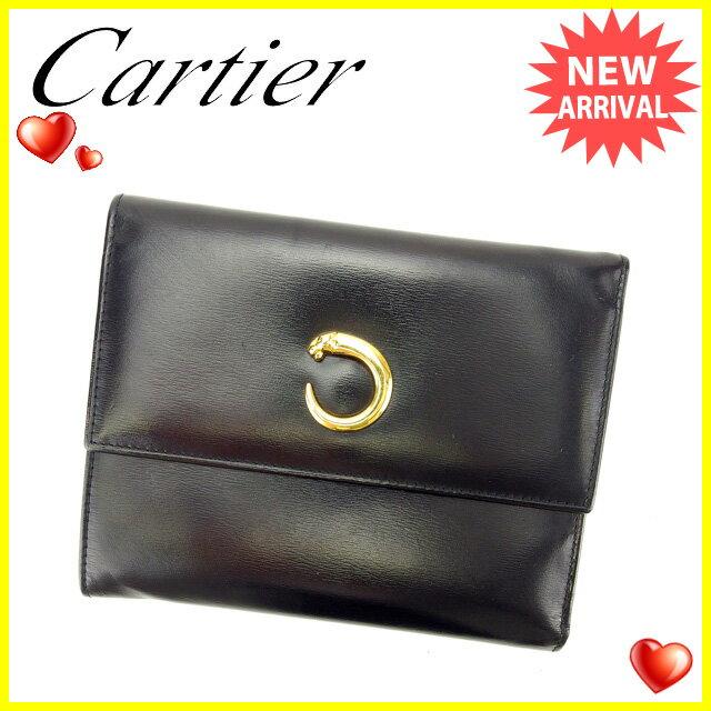 カルティエ Cartier 三つ折り財布 メンズ可 パンテール L3000210 ブラック×ゴールド レザー×ゴールド素材  【】 L936 サイフ お財布 安い セール