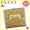グッチ Gucci Wホック財布 レディース GGキャンバス ブラウン×ゴールド キャンバス×レザー 人気 【中古】 J13211