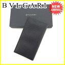 ブルガリ BVLGARI 長財布 ファスナー付き長財布 メンズ ロゴ ブラック レザー 未使用 【中古】 J13336