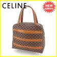 セリーヌ CELINE ハンドバッグ マカダム ブラウン系×ゴールド PVC×レザー 人気 セール 【中古】 J14256