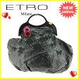 エトロ ETRO ハンドバッグ レディース フラワー刺繍 ブラック×レッド×ゴールド エナメルレザー 人気 【中古】 C2127
