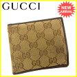 グッチ Gucci 二つ折り財布 メンズ可 GGキャンバス ベージュ×ブラウン キャンバス×レザー 人気 【中古】 J13954