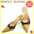マロノブラニク Manolo Blahnik ミュール シューズ 靴 レディース ♯34ハーフ ポインテッドトゥ リボンモチーフ ベージュ×ブラック 人気 セール 【中古】 J10493