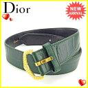 【中古】 ディオール Christian Dior ベルト グリーン×ゴールド クロコダイル調 Y6410s .