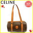 セリーヌ CELINE ショルダーバッグ 筒型バッグ マカダム ブラウン系×ゴールド PVC×レザー 人気 セール 【中古】 J14621
