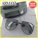 ジョルジオ アルマーニ GIORGIO ARMANI サングラス メガネ メンズ パイロット型 ブラック×シルバー プラスティック×シルバー金具 美品 セール 【中古】 J15609