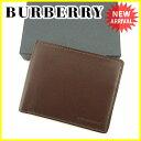 バーバリー BURBERRY 二つ折り札入れ 札入れ メンズ ロゴ ブラウン レザー 未使用品 【未使用】 J19797