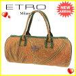 エトロ ETRO ハンドバッグ 筒型バッグ レディース ペイズリー ブラウン×グリーン系 キャンバス 人気 セール 【中古】 K421