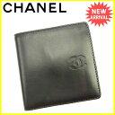 【中古】 シャネル CHANEL 二つ折り財布 レディース メンズ 可 ココマーク ブラック レザー レア Y6182