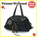 ヴィヴィアン ウエストウッド Vivienne Westwood ハンドバッグ ミニボストンバッグ メンズ可 オーブ ブラック×シルバー キャンバス×レザー 良品 セール 【中古】 S454 ★