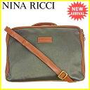 ニナリッチ NINA RICCI ビジネスバッグ 2WAYショルダー メンズ ブラウン×ブラック PVC×レザー 人気 セール 【中古】 L1483 .