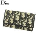 【中古】 ディオール Dior キーケース 6連キーケース レディース メンズ トロッター ブラック ベージュ ゴールド PVC×レザー ヴィンテージ 人気 Q491 .