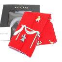 【中古】 ブルガリ BVLGARI スカーフ 大判サイズ ファッションアイテム レディース レッド×ブルー系 D1388