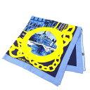 【中古】 セリーヌ CELINE スカーフ レディース ブルー×ゴールド 100%シルク (あす楽対応)人気 美品 T13460 .