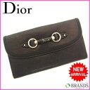 【送料無料】 クリスチャン・ディオール Christian Dior Wホック財布 ブラック レザー×シルバー素材 【中古】 B182