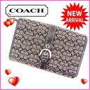 【送料無料】 コーチ COACH 二つ折り財布メンズ可 ミニシグネチャー ブラック キャンバス×レザー 【中古】 B460