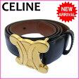 【送料無料】 セリーヌ CELINE ベルト ロゴ ブラック レザー 【中古】 C536