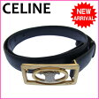 【送料無料】 セリーヌ CELINE ベルト メンズ可 ♯65 ロゴモチーフ ブラック×ゴールド レザー 【中古】 C689