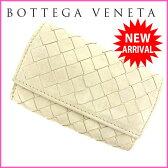 (・ 人気 ) ボッテガ・ヴェネタ BOTTEGA VENETA コインケース メンズ可 イントレチャート ホワイト レザー 【中古】 E512