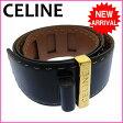 (良品・即納) セリーヌ CELINE ベルト ロゴ ブラック×ゴールドカラー レザー 【中古】 F305