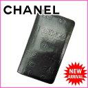 【送料無料】 シャネル CHANEL 長財布 メンズ可 ブラック レザー (あす楽対応) 美品 人気 【中古】 F774