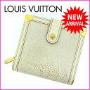 【送料無料】 ルイヴィトン Louis Vuitton 二つ折り財布 メンズ可 コンパクトジップ スハリ ブロン レザー 【中古】 I107