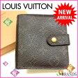 ルイヴィトン Louis Vuitton 二つ折り財布 ラウンドファスナー メンズ可 /コンパクトジップ モノグラム M61667 ブラウン PVC×レザー (あす楽対応)(参考定価60900円)【中古】 J349