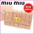 ミュウミュウ miumiu 三つ折り財布 クロコダイル型押し ピンク レザー (あす楽対応)【中古】 J1629 ★