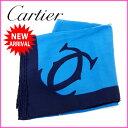 樂天商城 - 【送料無料】 カルティエ Cartier スカーフ メンズ可 マストライン ブルー×ブラック 100%シルク (あす楽対応)人気 美品【中古】 J4762