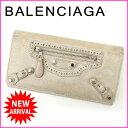 【中古】 【送料無料】 バレンシアガ BALENCIAGA 長財布 レディース ザ・マネー ホワイト