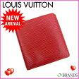 ルイヴィトン Louis Vuitton 二つ折り札入れポルト ビエ 6カルトクレディ エピ レッド PVC×レザー 【中古】(参考定価39,900円) N035