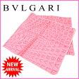 ブルガリ BVLGARI スカーフ レディース ロゴマニア ピンク 100%シルク (あす楽対応)人気 良品【中古】 J5999