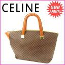 セリーヌ CELINE ハンドバッグ レディース マカダム ブラウン PVC×レザー (あす楽対応)人気 良品【中古】 J6163